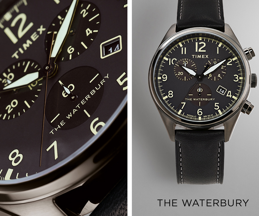 Zoomed in image of black watch with white dials