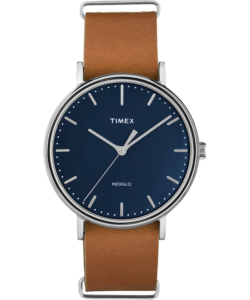 Silver watch with light brown leather straps with blue inner face and silver dials