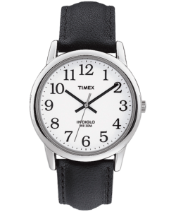 Silver watch with black leather straps and white inner face with black dials