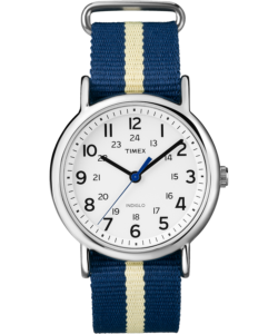 Silver watch with blue and white stripped fabric straps and white inner face with black and blue dials