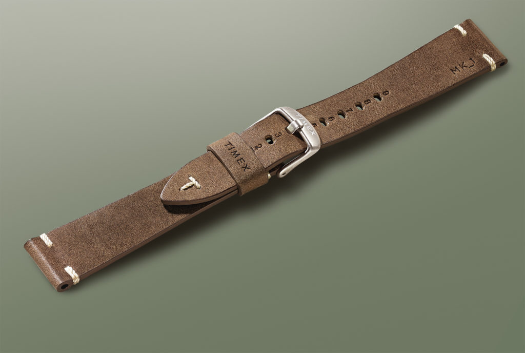 Brown leather strap alone in front of green background