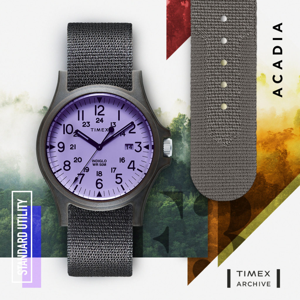 Dark Grey watch with purple interior face black dial and black fabric