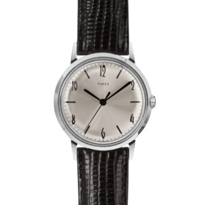 Silver Marlin watch with black leather straps and black dials