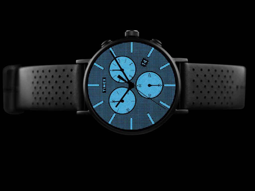 Black watch with black leather straps and blue inner face that glows