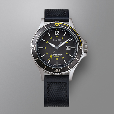 Expedition Ranger Solar 43mm Leather Strap Watch