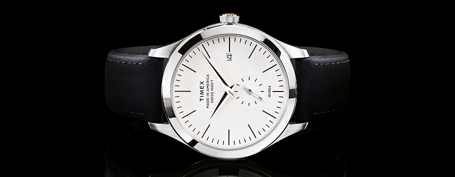 American Documents watch, Black leather strap, white dial