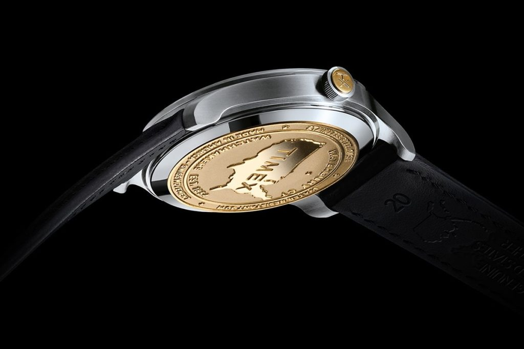 View from beneath the American Documents watch shows the commemorative gold coin backing