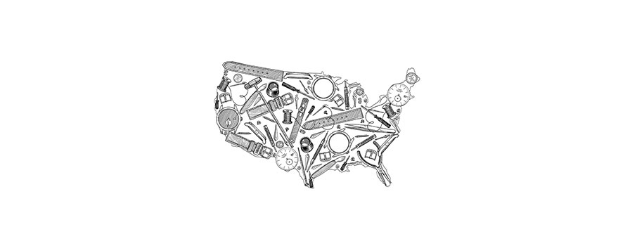 Map of United States with watch components overlaying the map