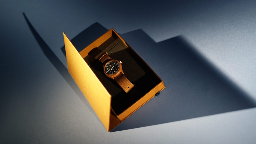 Top of of YMC x Timex Watch collaboration in special commemorative box