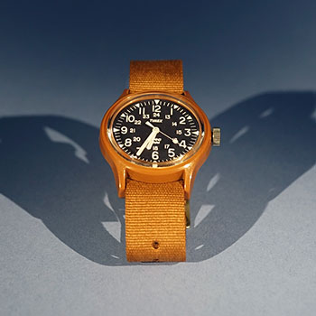 Front angle shot of YMC x Timex Watch Collaboration